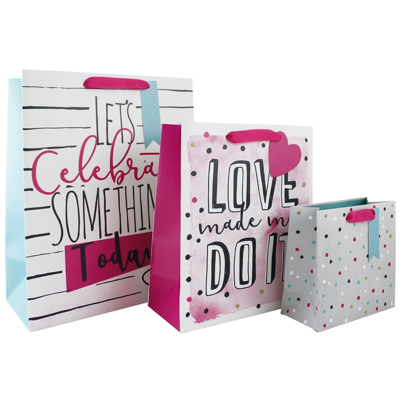 Size Assorted Gift Bags 3pk - Let's Celebrate