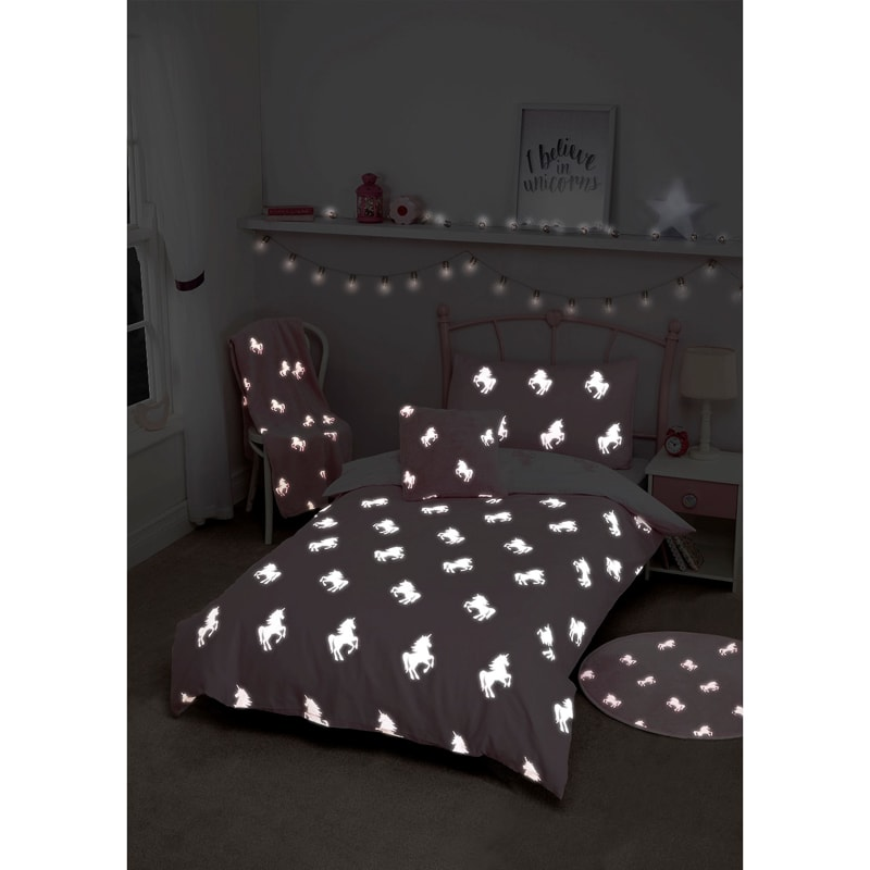 Glow In The Dark Unicorn Single Duvet Set Pink Bedding