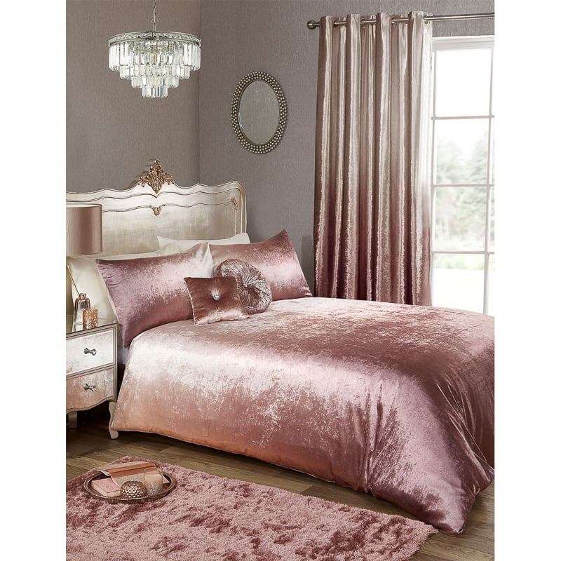 Karina Bailey Ombre Velvet Double Duvet Set Blush