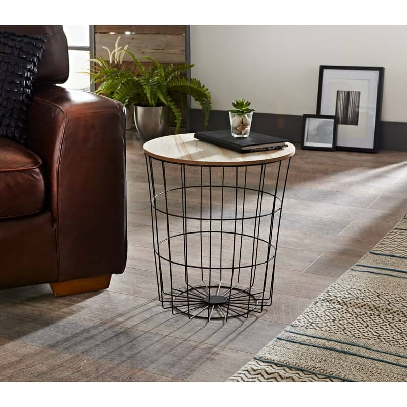 Tromso Basket Side Table With Removable Top Extra Storage for Toys//Books Living Room//Bedroom Decor