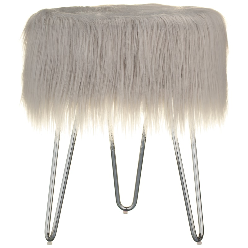 Faux Fur Footstool Grey Home Footstools B Amp M