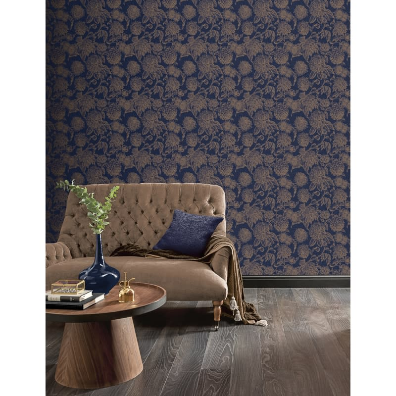 Luxe Botanica Wallpaper Navy Gold Diy Wallpaper B M