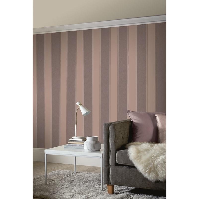 Decoris Stripe Wallpaper Rose Gold Diy Wallpaper B M
