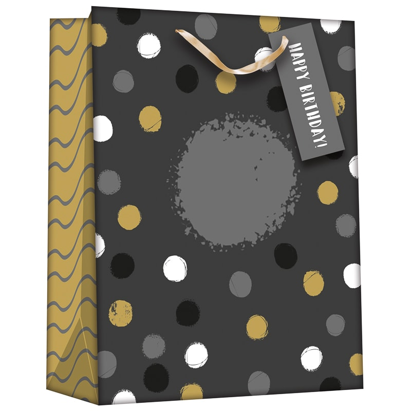 Gift Bag with Age Stickers - Black & Gold