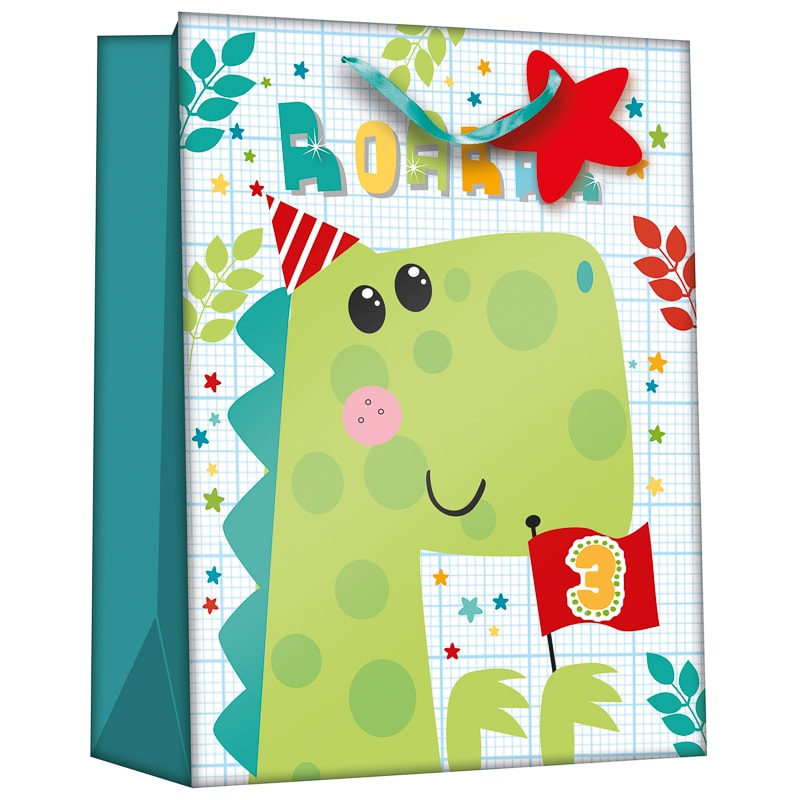 Gift Bag with Age Stickers - Dinosaur