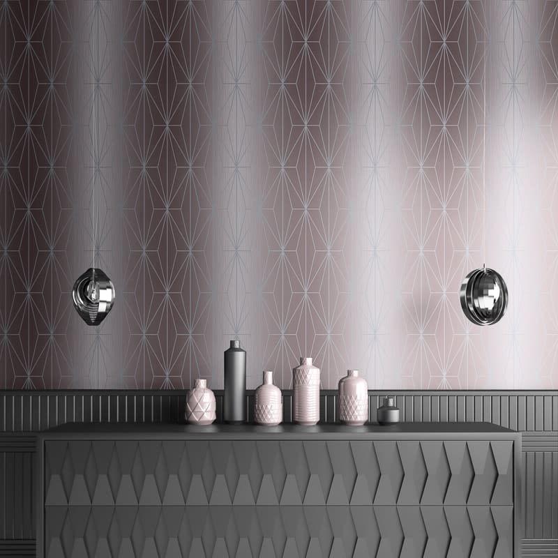 Kayla Blush Silver Wallpaper