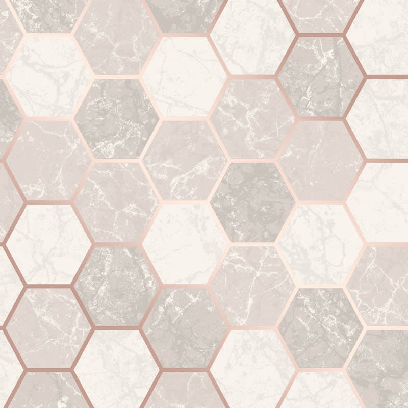Metro Hex Marble Wallpaper Rose Gold Diy Wallpaper B M