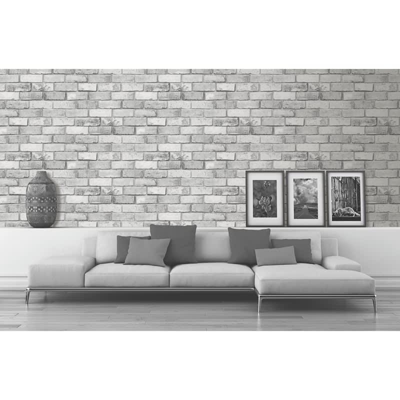 Glitter Brick Wallpaper Charcoal