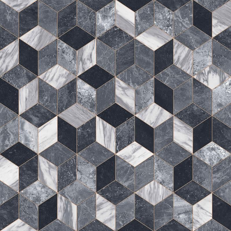 Camrose Marble Geometric Tile Effect Vinyl 2 X 3m
