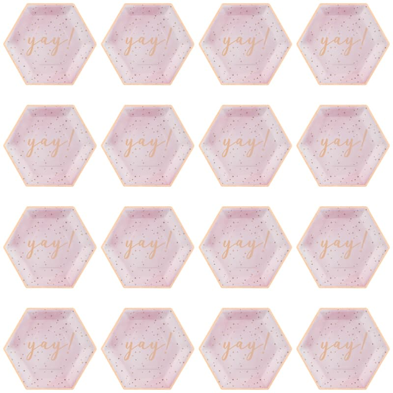 Hexagon Paper Plates 16pk - Yay