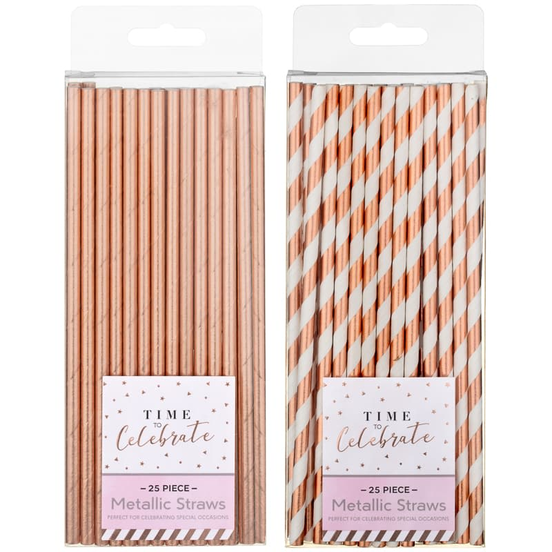 Metallic Straws 25pk - Rose Gold