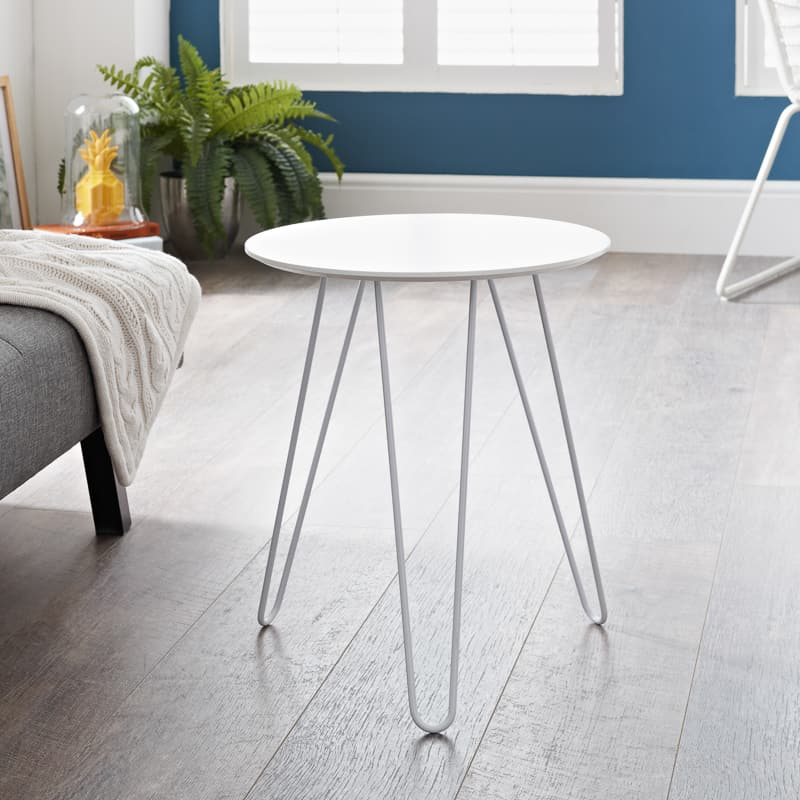 Malvern Hairpin Leg Side Table - White