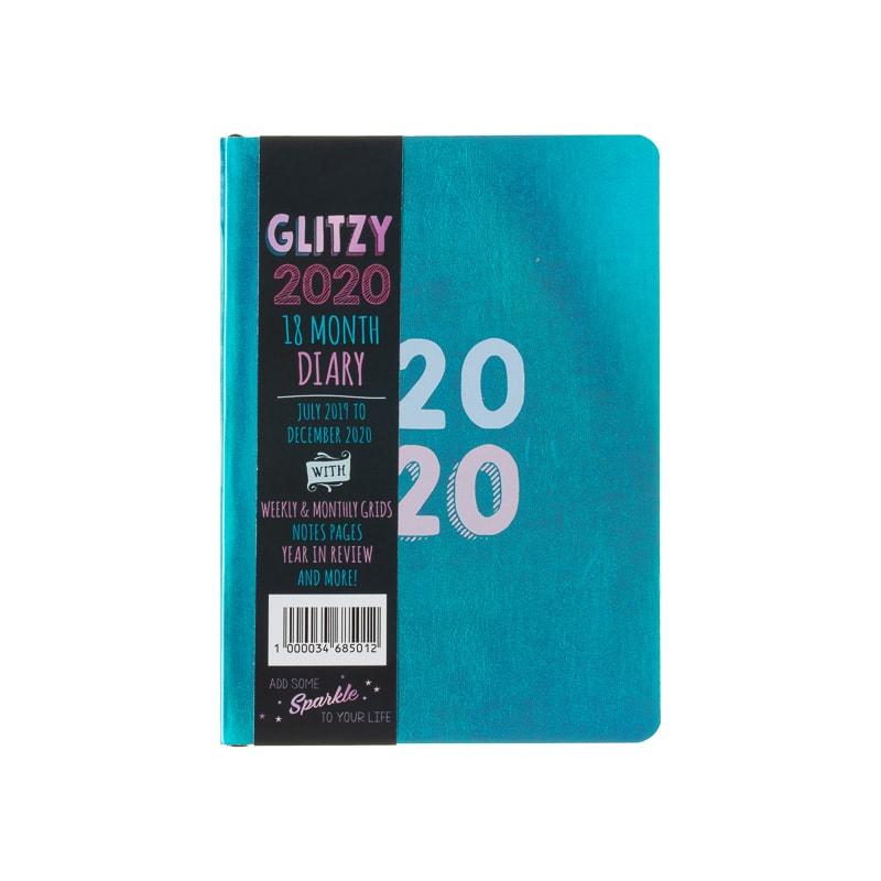 Glitzy 2020 18-Month Diary - Blue