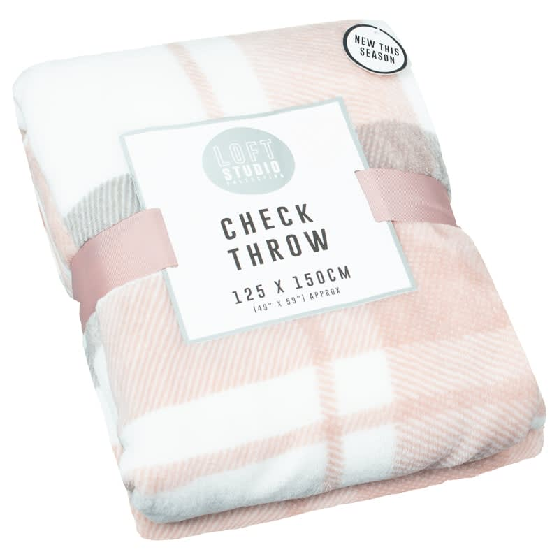 Supersoft Check Throw - Blush