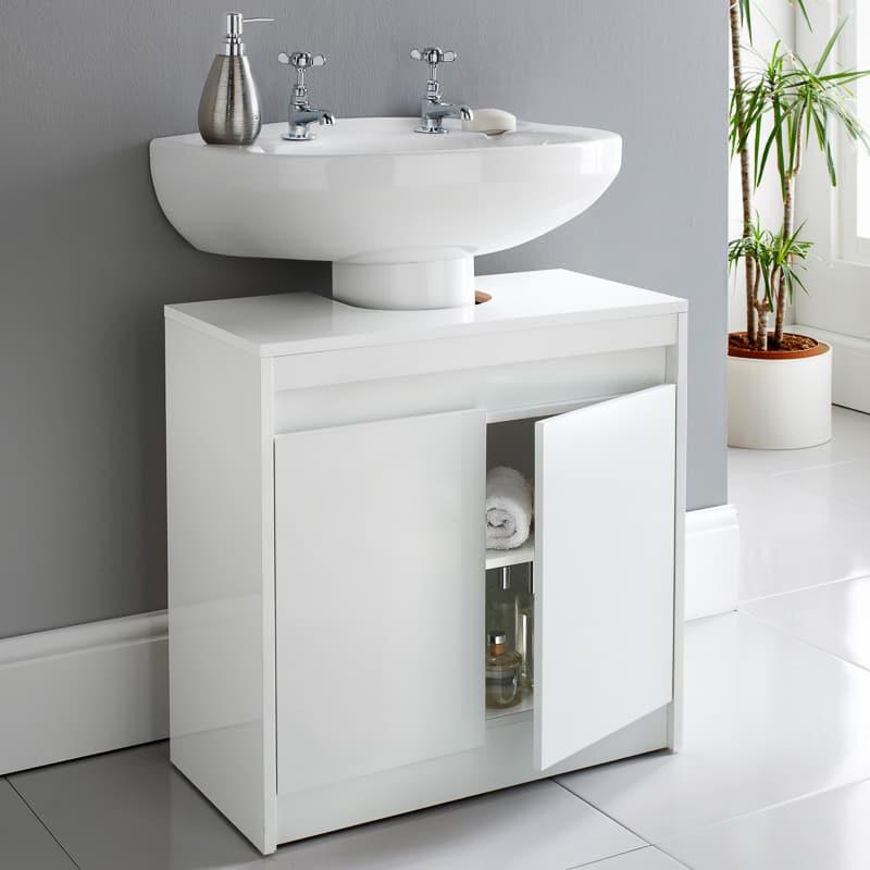 Norsk High Gloss Under Sink Cabinet Bathroom Furniture B M