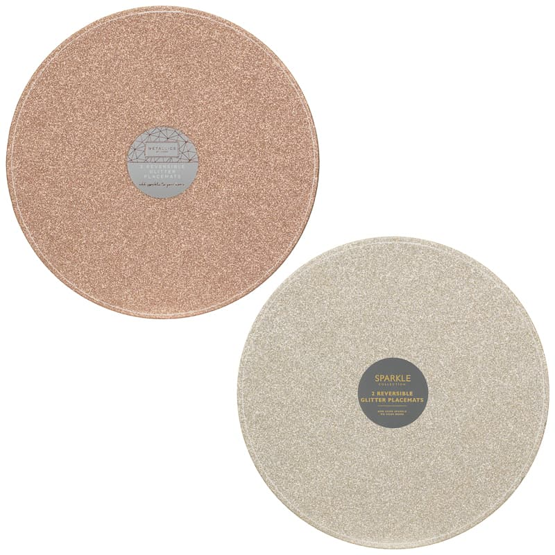 Reversible Glitter Placemats 2pk - Rose Gold