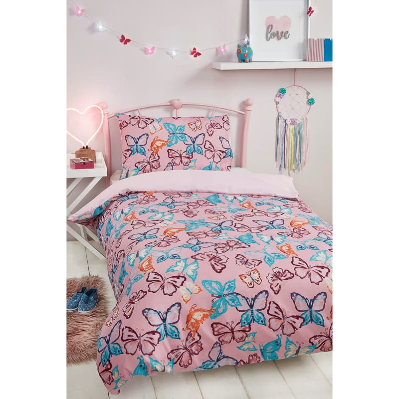 B&M bedding Girls Single Duvet Set - Butterfly