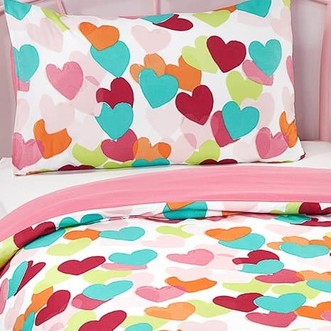 Girls Single Duvet Set - Hearts
