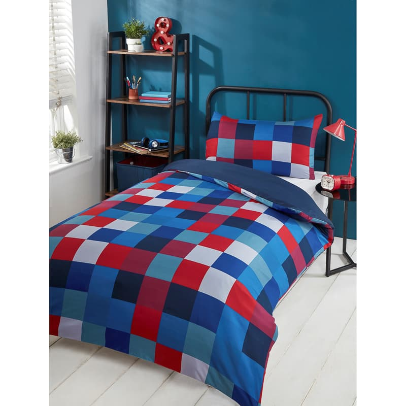 B&M bedding - Check Single Duvet Set - Red & Blue