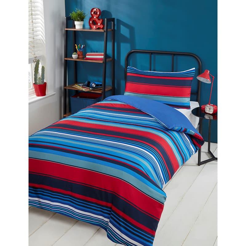 Striped Single Duvet Set Red Amp Blue Bedding B Amp M