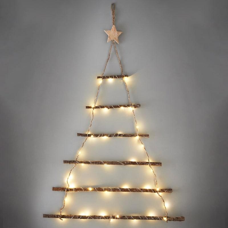 Wall Christmas Trees.Lit Twig Wall Christmas Tree