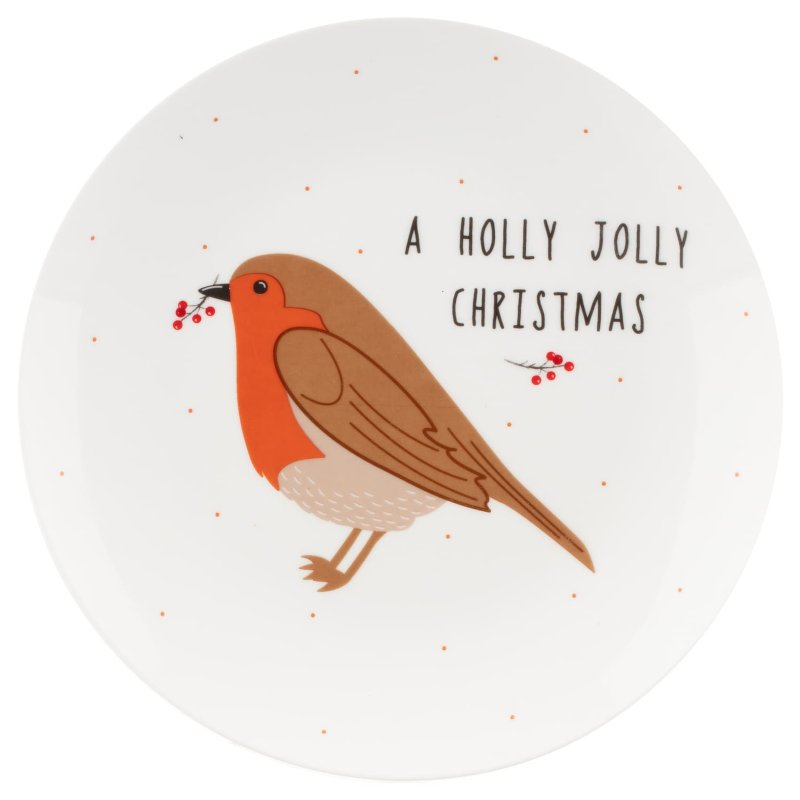 Holly Jolly Christmas.Traditional Christmas Plate Holly Jolly Christmas