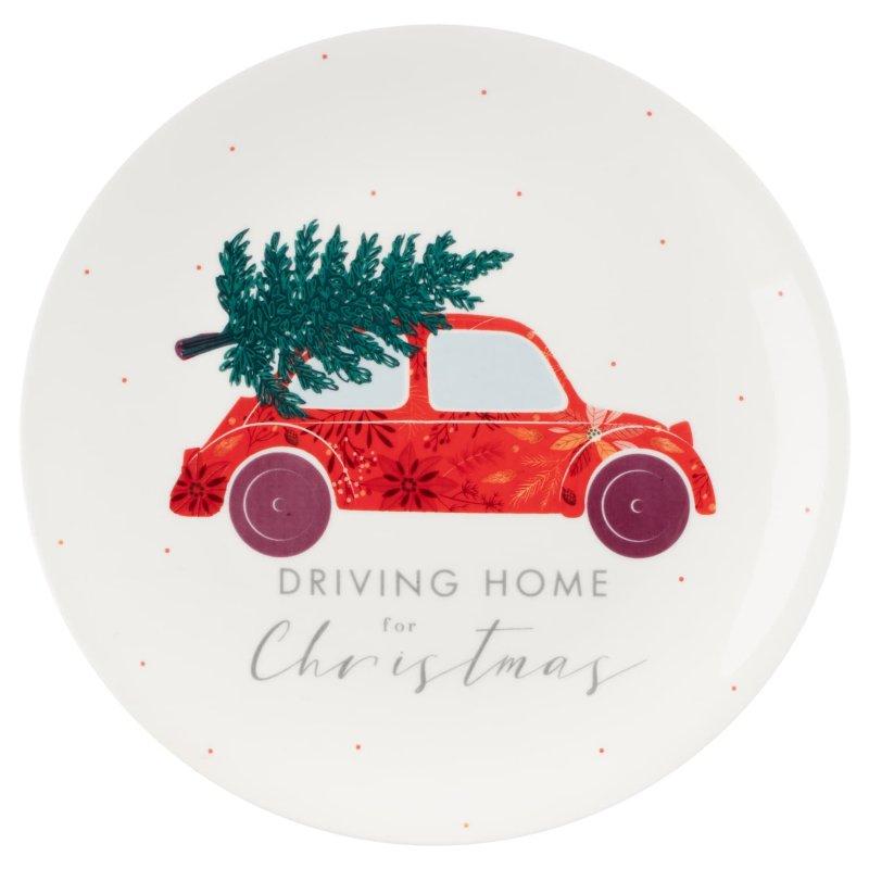 Driving Home For Christmas.Traditional Christmas Plate Driving Home For Christmas