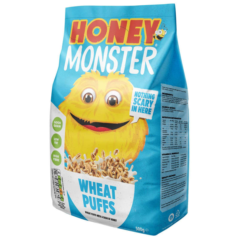 Honey Monster Wheat Puffs Cereal 500g