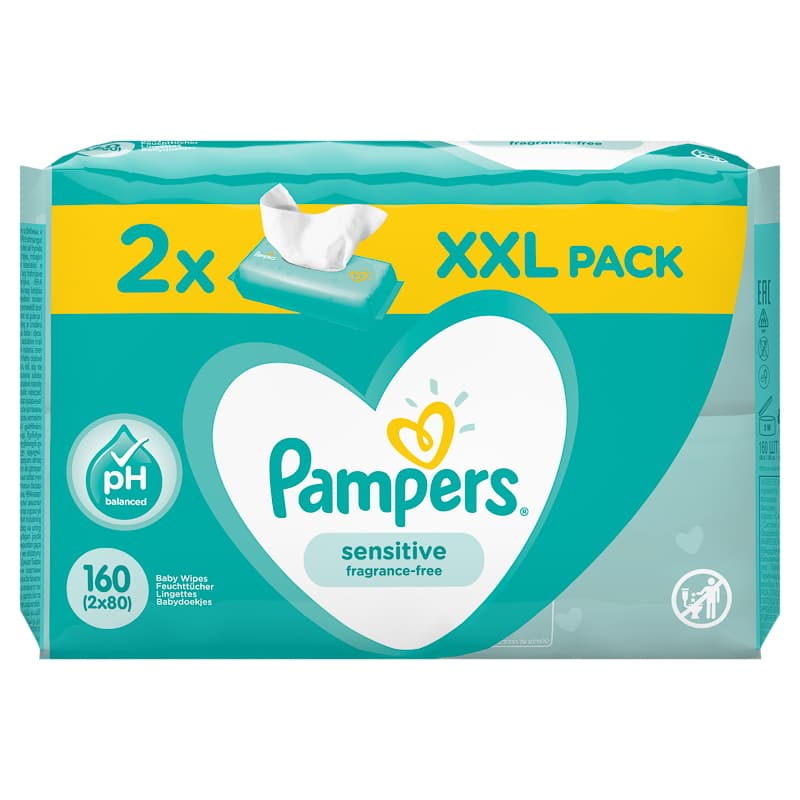 Pampers Sensitive Fragrance-Free Wipes 2 x 80pk