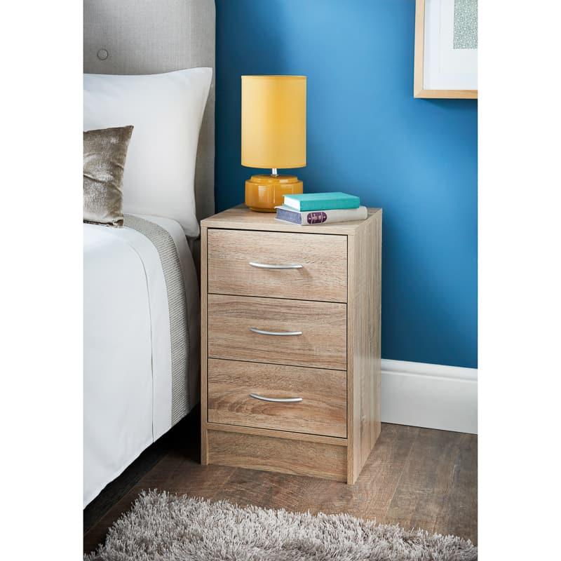 Lokken Oak Finish 3 Drawer Bedside Table