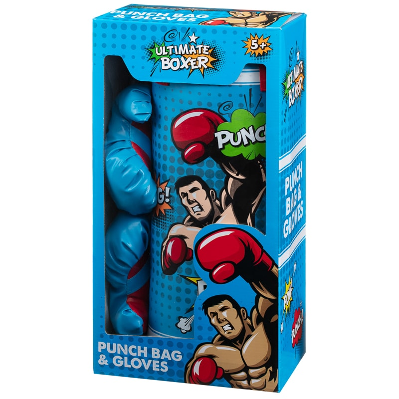 Kids Boxing Gloves & Punch Bag - Blue