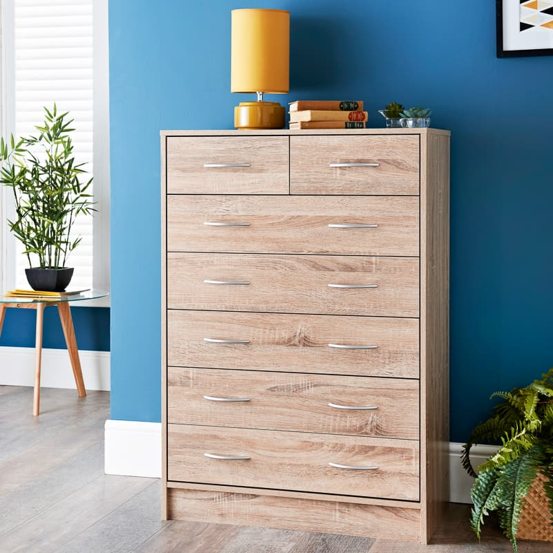 Lokken Oak Finish 7 Drawer Chest