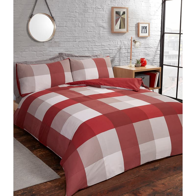Check Twin Pack Double Duvet Set - Red