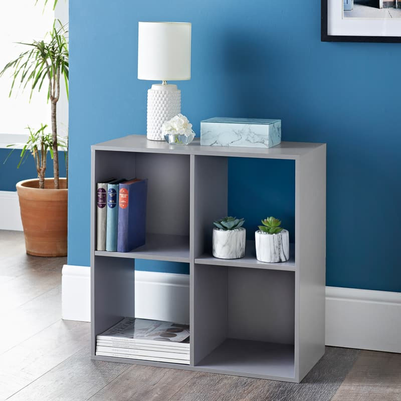 Lokken 4 Cube Shelving Unit - Grey