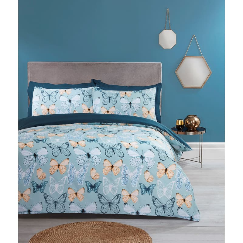 Butterfly Double Duvet Set - Teal