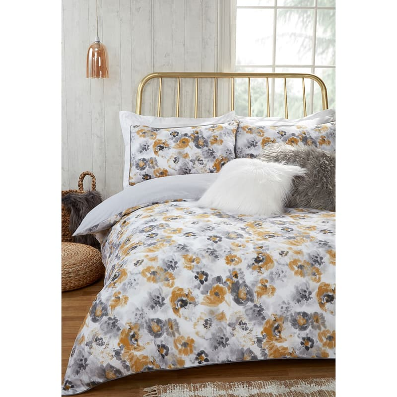Ochre Floral King Duvet Set