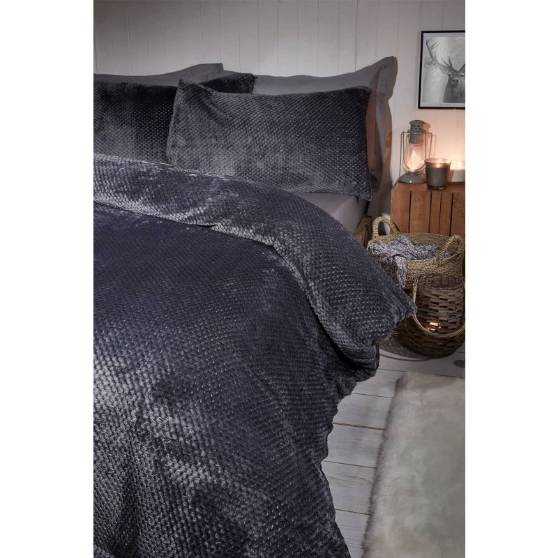 Waffle Fleece King Size Duvet Set Charcoal Duvet