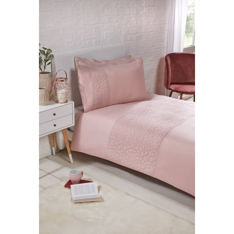 Floral Pinsonic Single Duvet Set - Blush