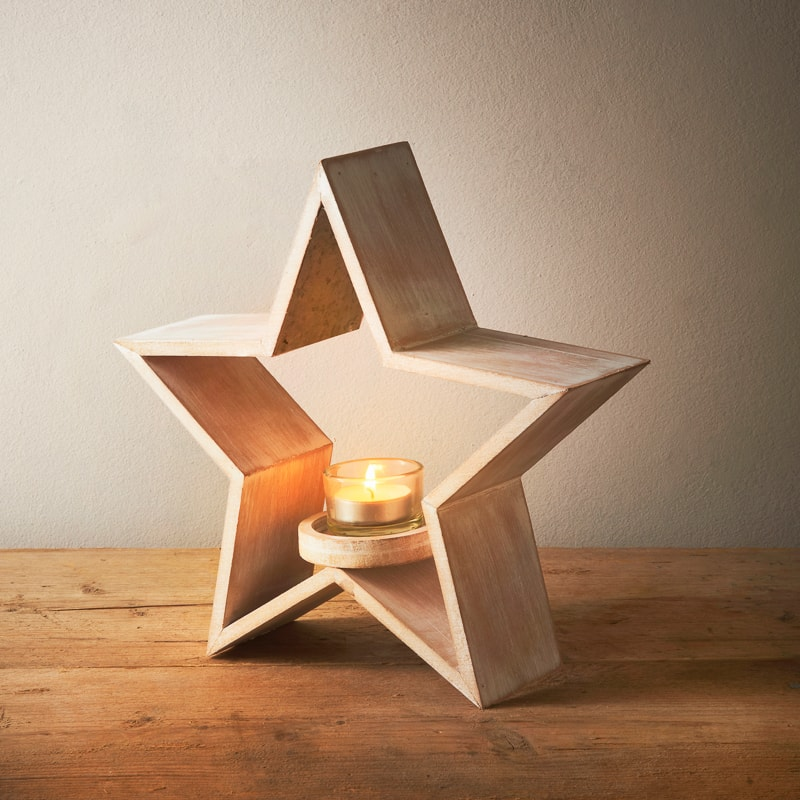 Wooden Star Shaped Candle Holder