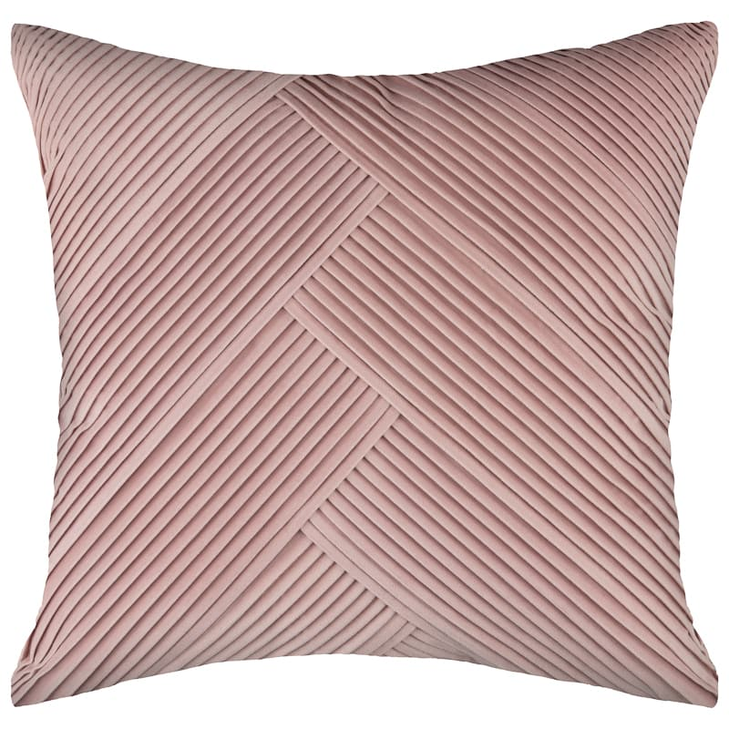 Pleated Velvet Cushion - Blush