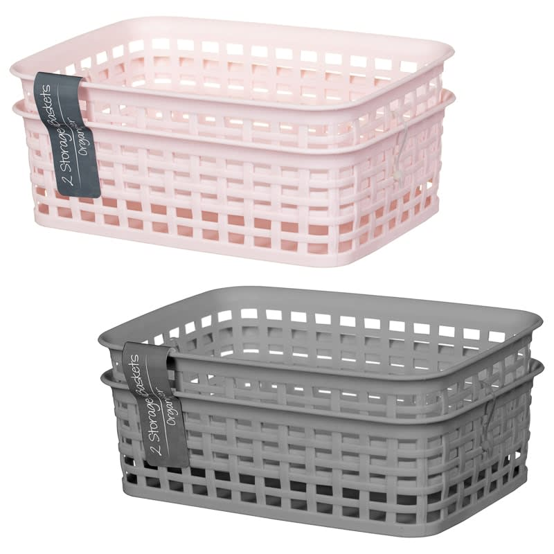Knit Effect Mini Storage Basket 2pk - Pink