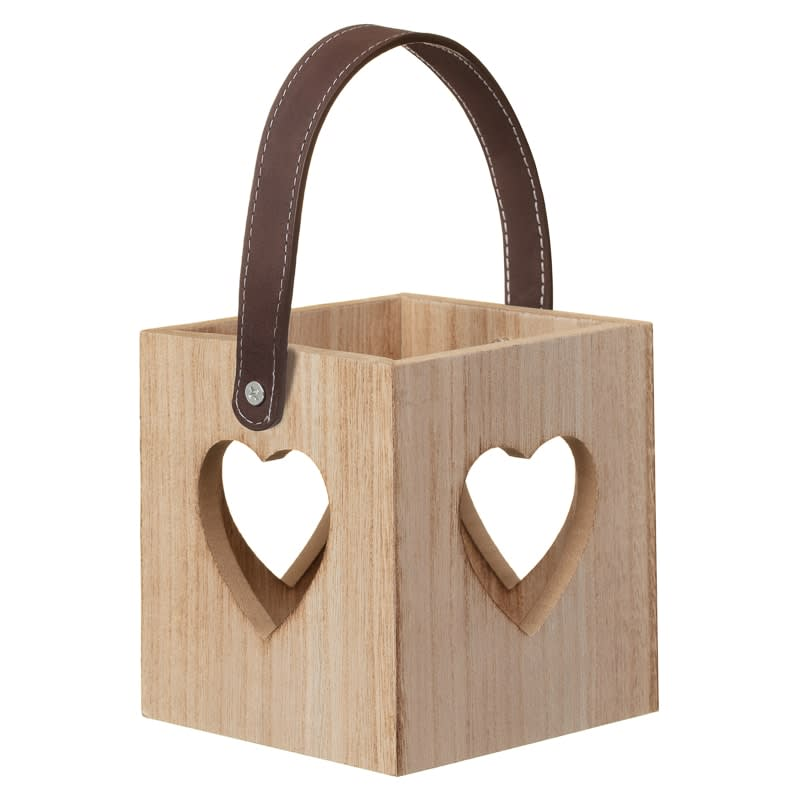 Heart Cutout Wooden Lantern - Wood
