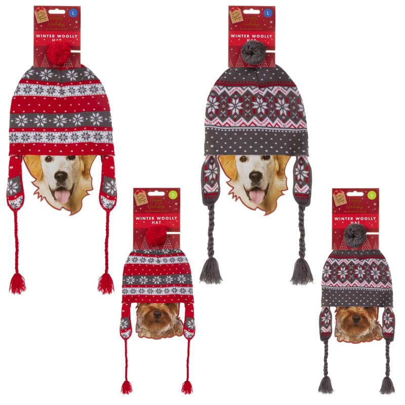 Christmas Hats For Dogs.Winter Woolly Hat For Dogs
