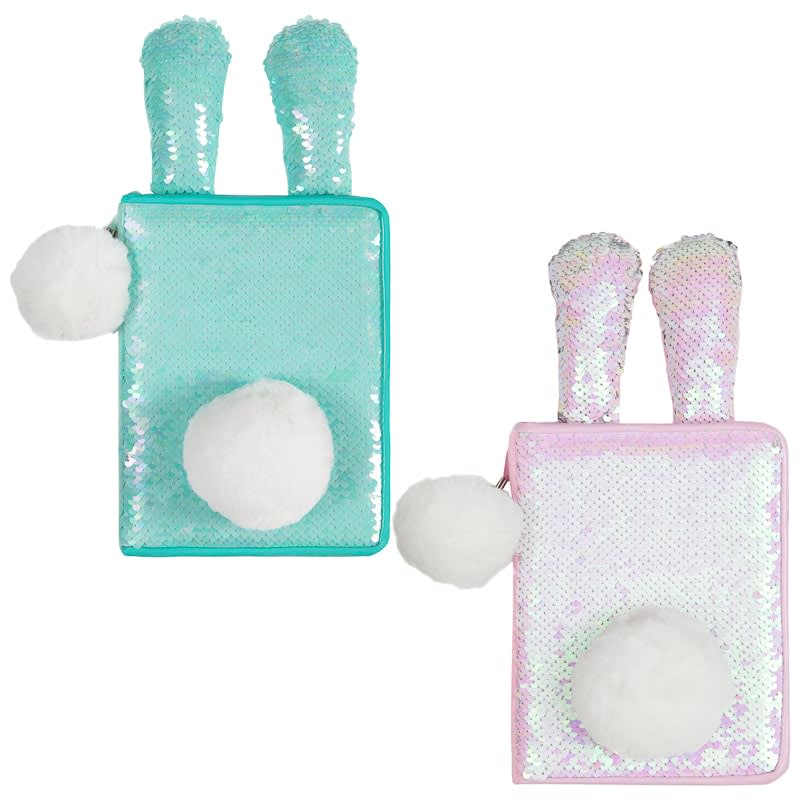 Reversible Sequin Bunny Notebook - Pink