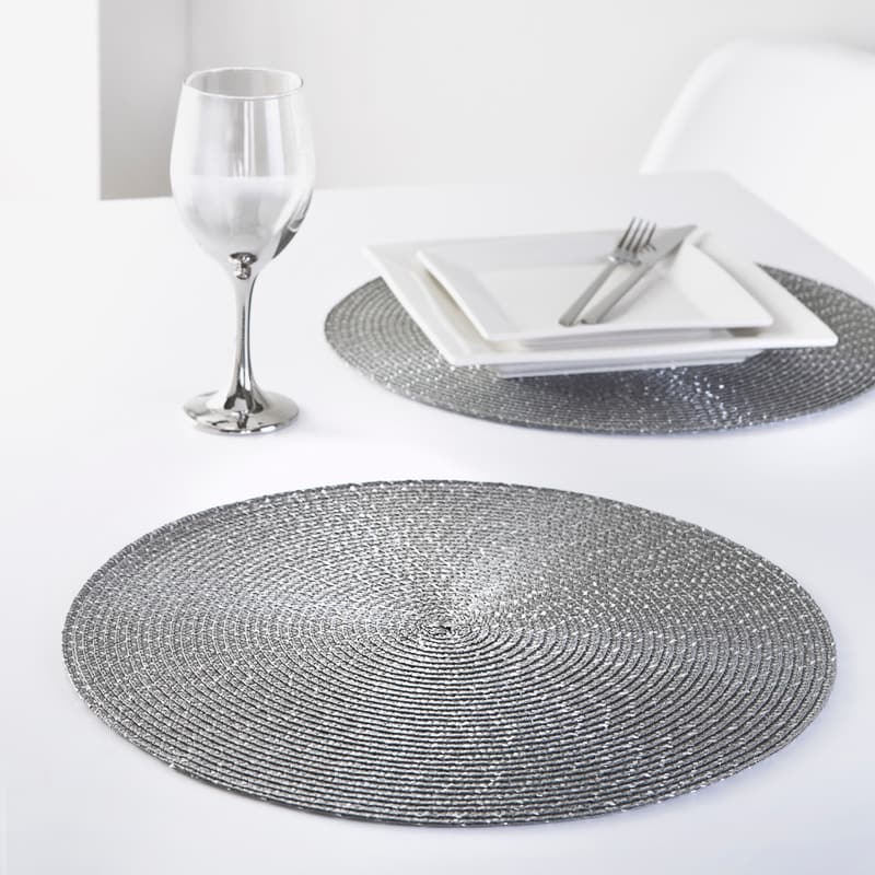 Round Glitter Placemats 4pk - Charcoal