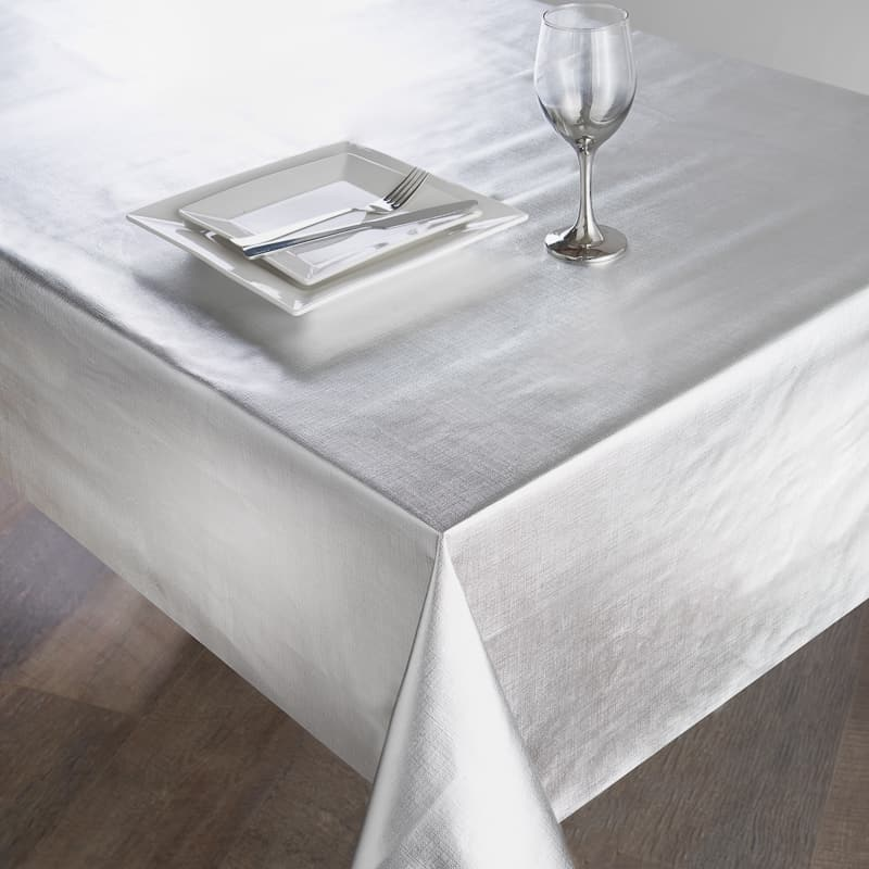 Wipe Clean Textured Metallic Tablecloth 132 x 178cm - Silver