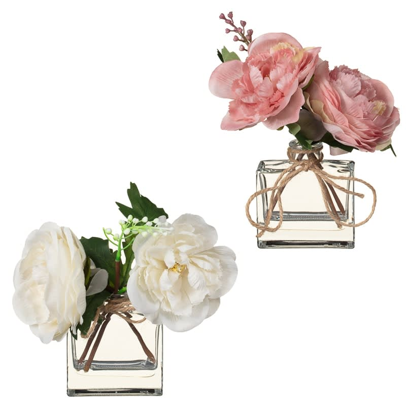 Artificial Peonies in Glass Bottle - White
