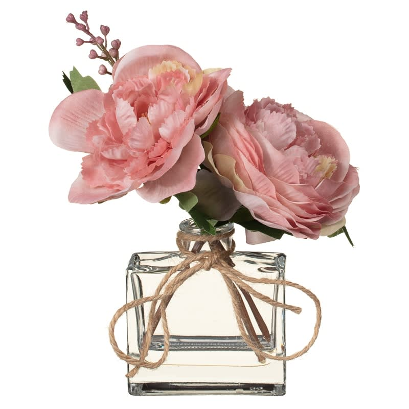 Artificial Peonies in Glass Bottle - Pink