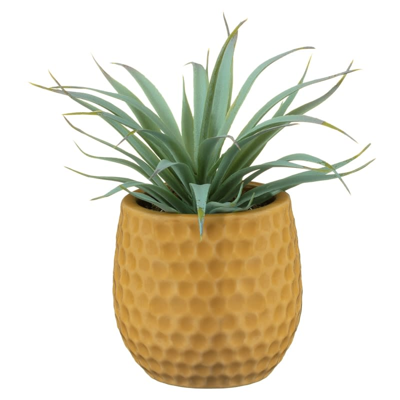 Artificial Hebe Plant in Ceramic Pot - Yellow