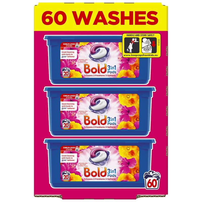 Bold 3-in-1 Pods 60 Washes - Sparkling Bloom & Yellow Poppy